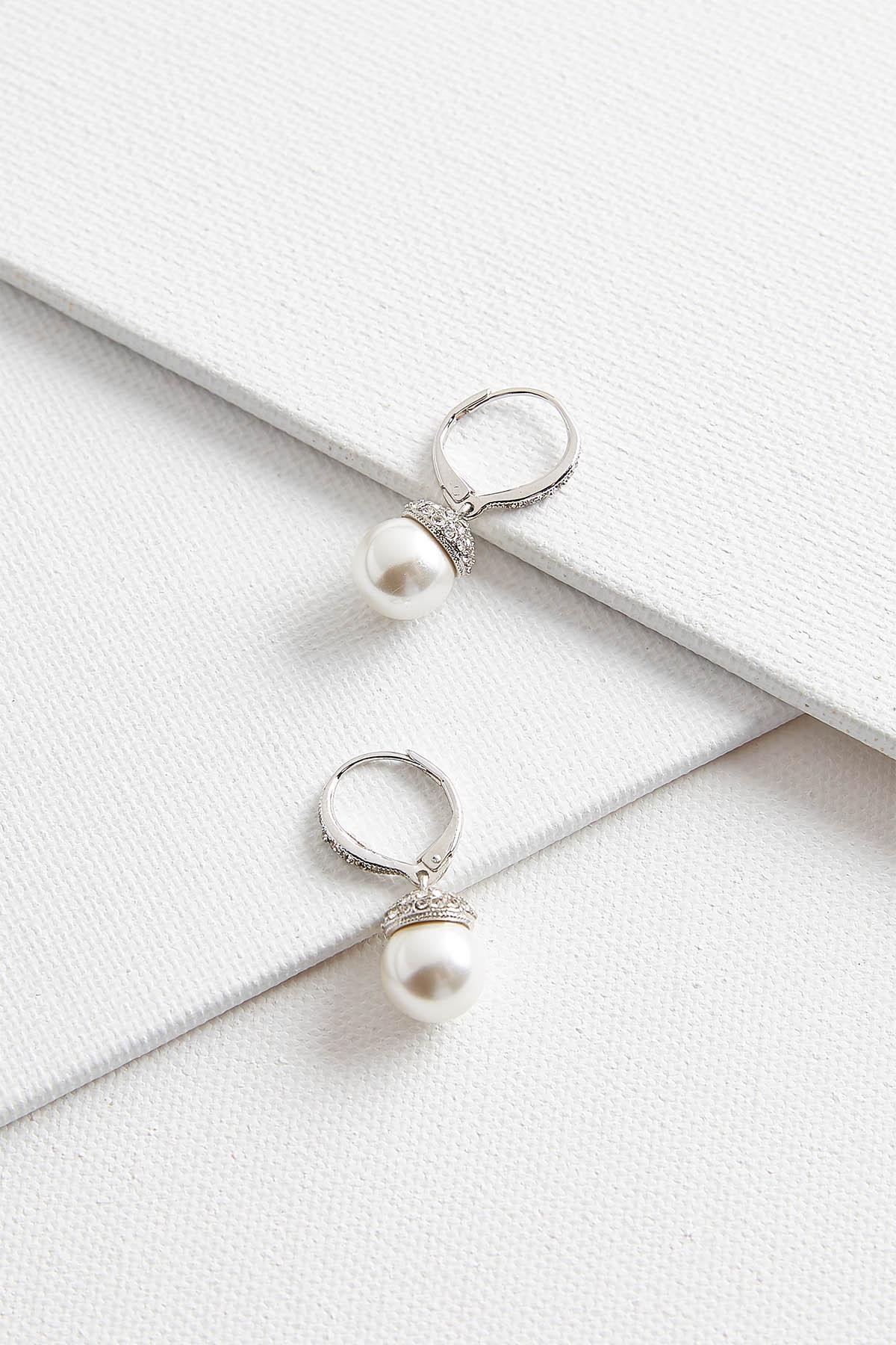 Pearl And Pave Cap Earrings