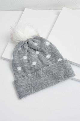 polka dot and furry pom beanie