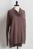 Slate Ribbed Knit Cowl Neck Tunic