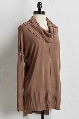 ribbed knit cowl neck tunic