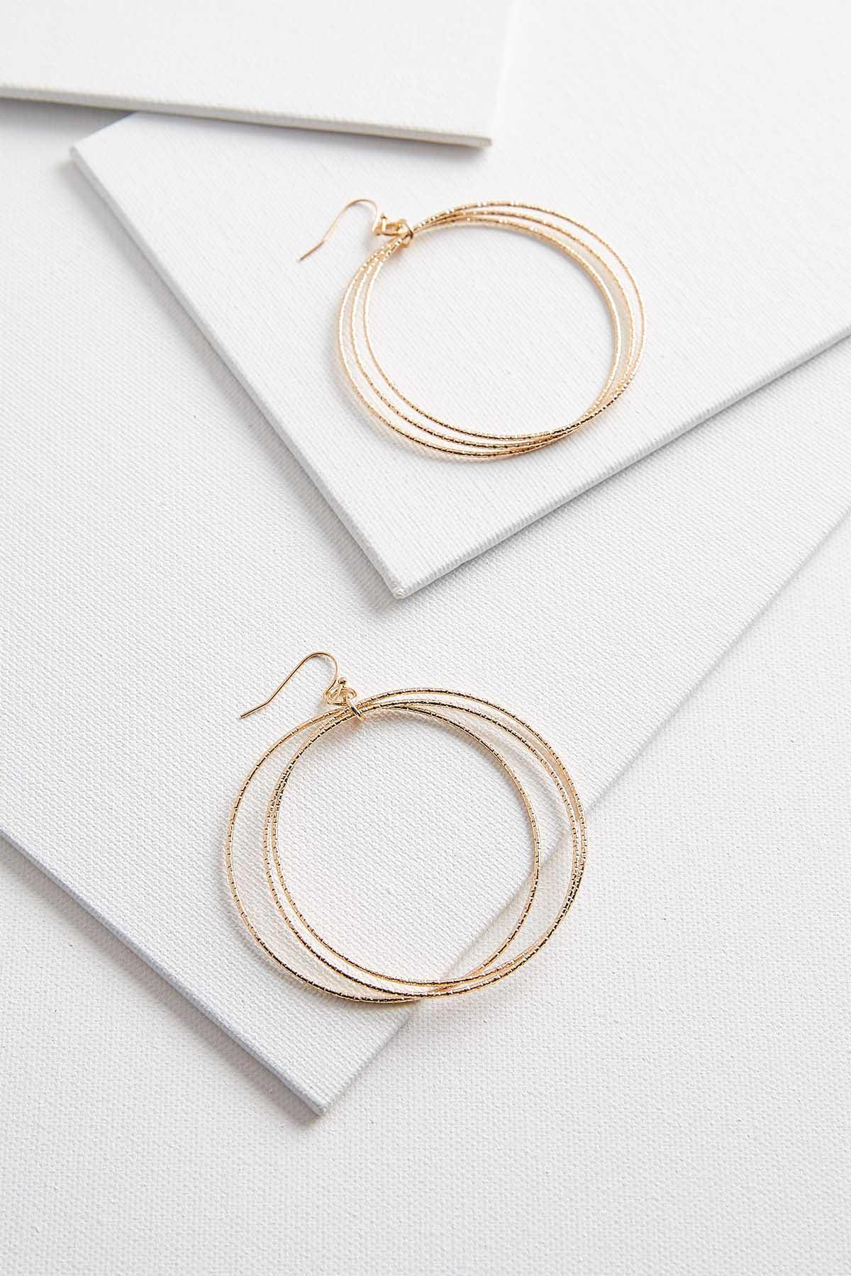 Dangling Textured Ring Earrings
