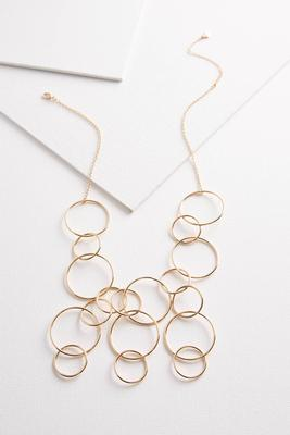 metal ring bib necklace