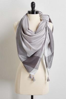 metallic border plaid scarf