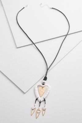 two-toned heart pendant necklace