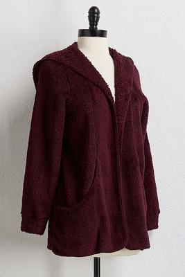 hooded cozy fleece cardigan