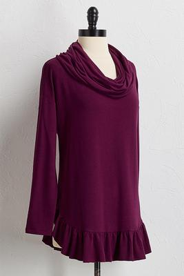 ruffled cowl neck top