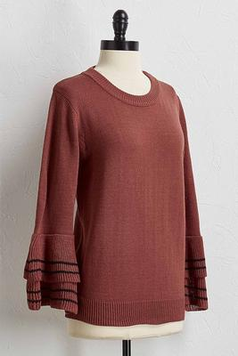 two-toned flutter sleeve sweater
