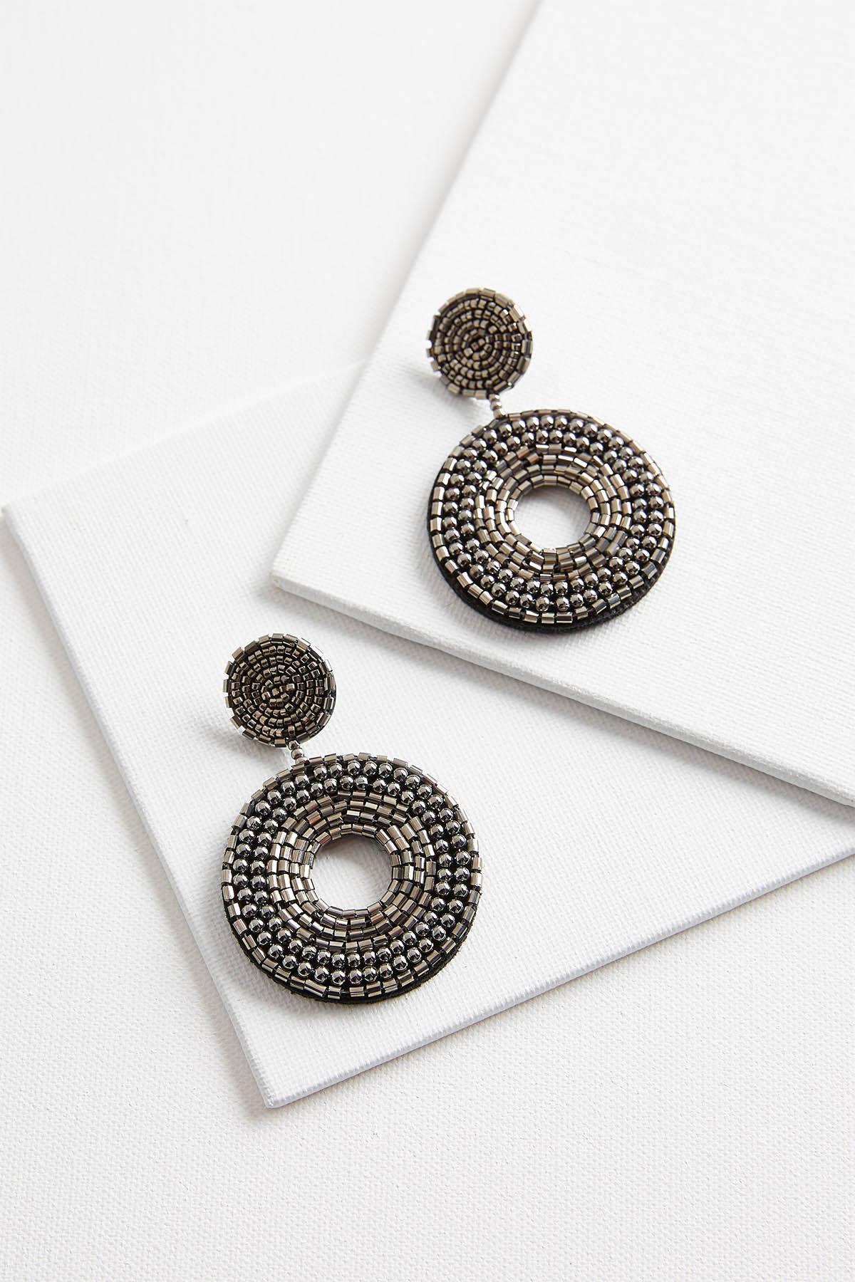 Beaded Circle Dangle Earrings