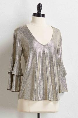 metallic tiered ruffle sleeve top