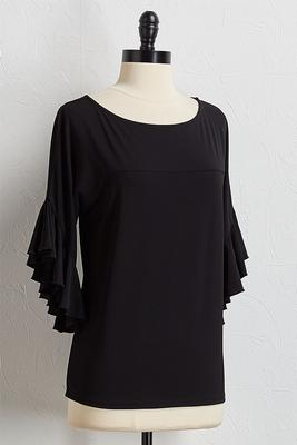 ruffle sleeve crepe top
