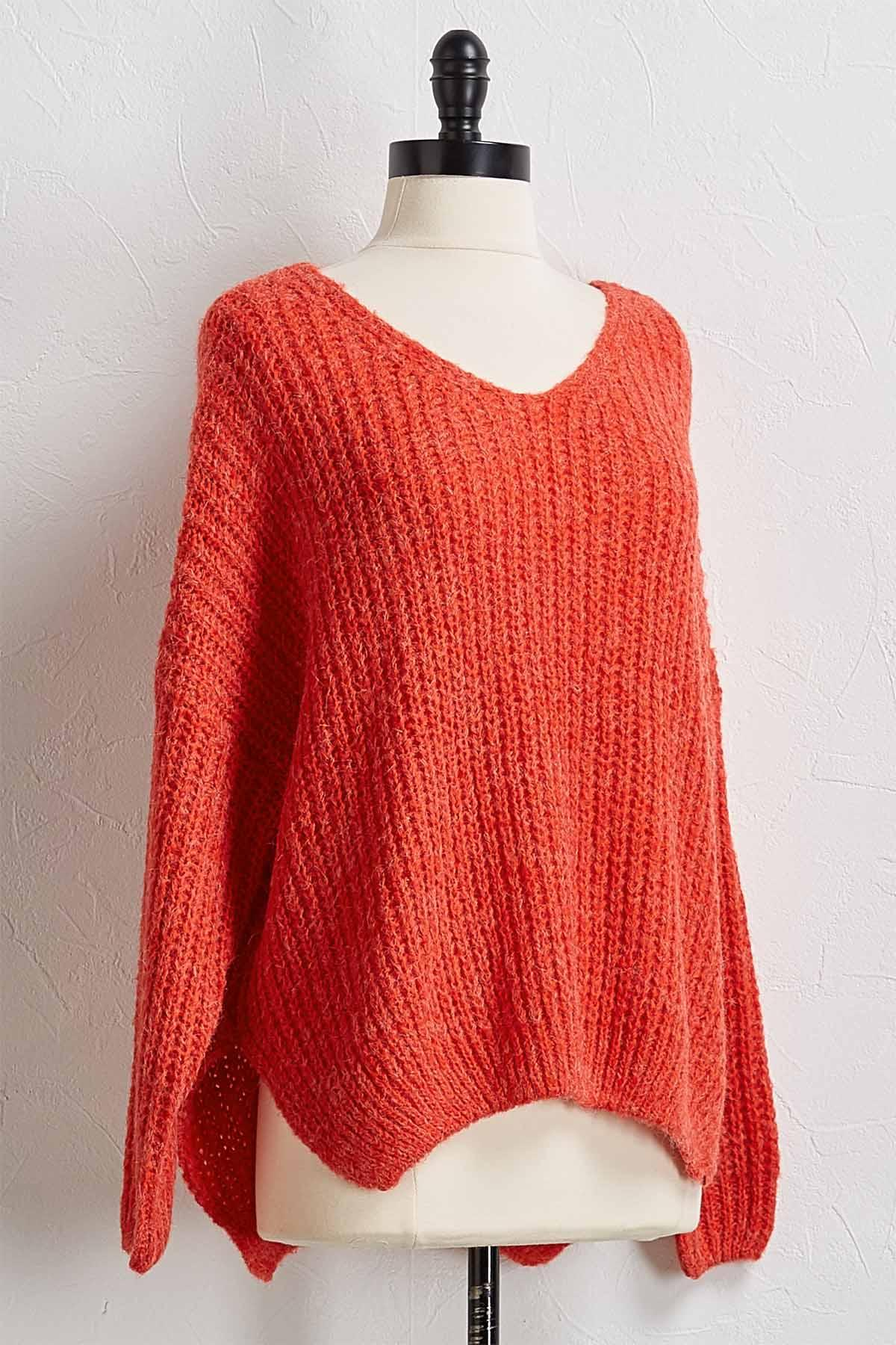 Red Fuzzy Pullover Sweater