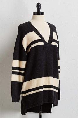colorblock tunic sweater