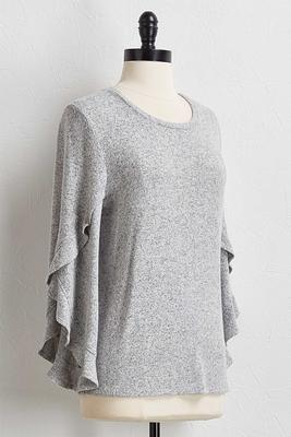 ruffled tulip sleeve sweater