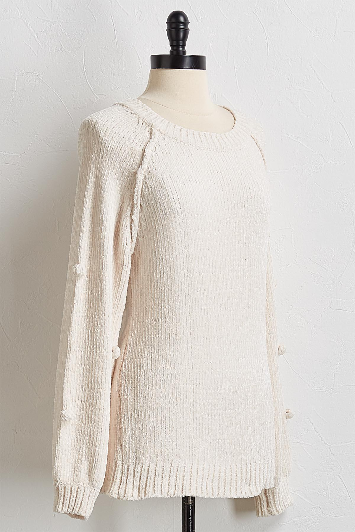 Chenille Pom Sleeve Sweater