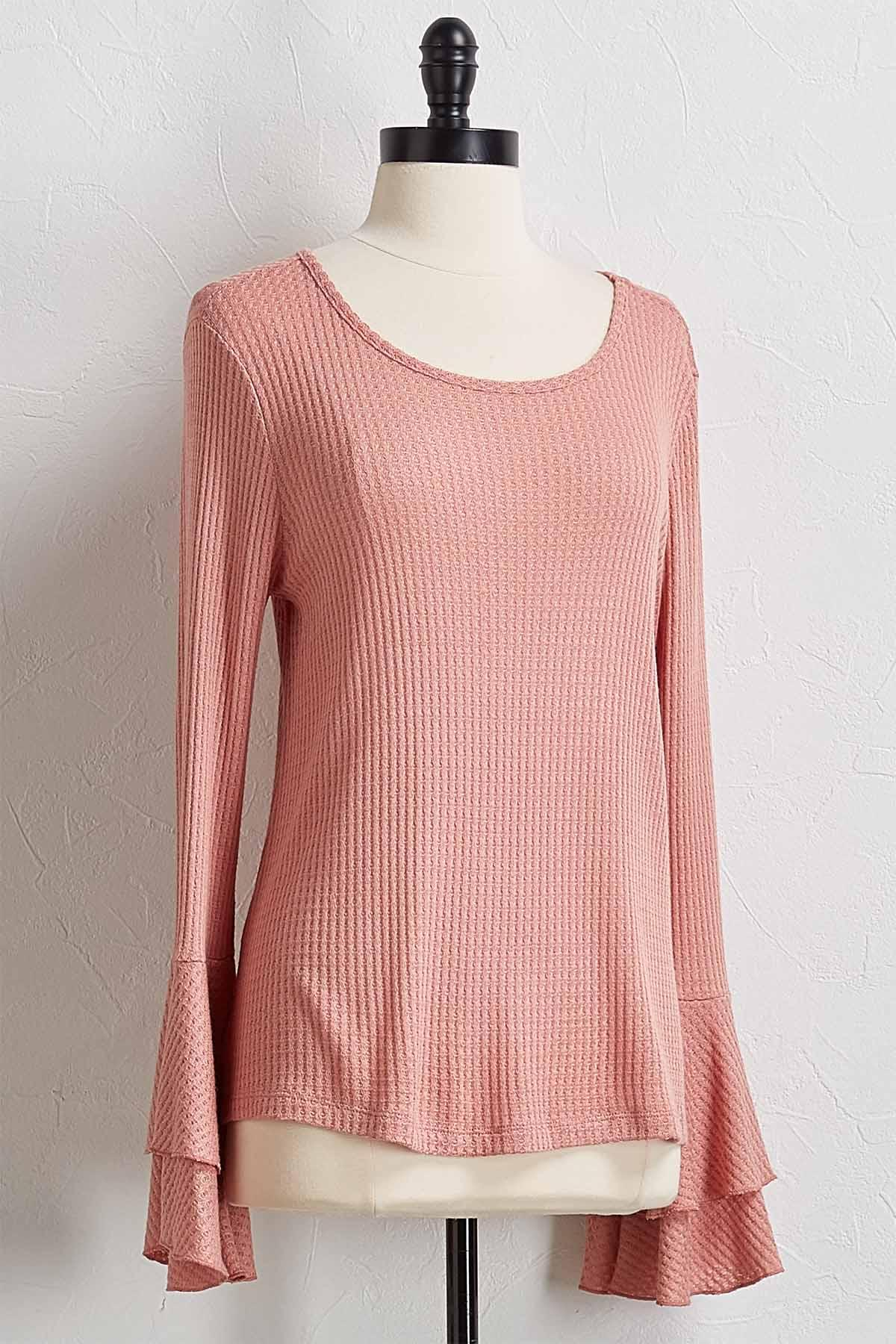 Textured Ruffled Sleeve Top