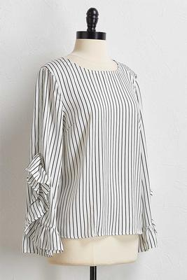 stripe ruffled sleeve top