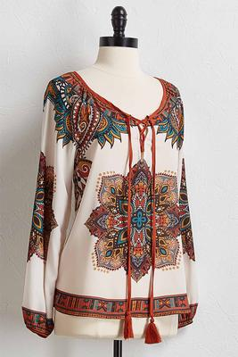 medallion lace up top