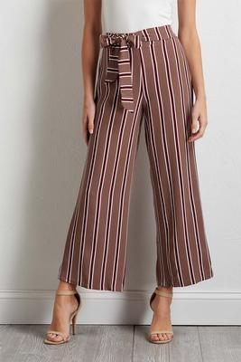 stripe tie front ankle pants