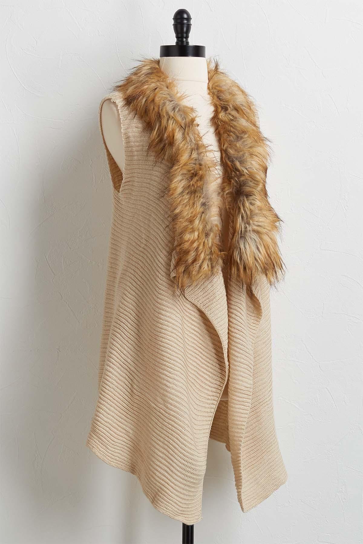 Ribbed Faux Fur Collar Vest