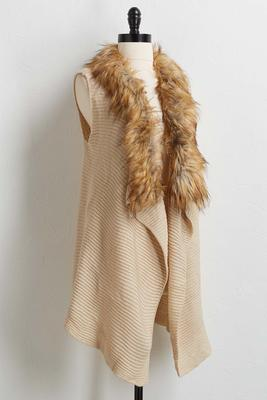 ribbed faux fur collar vest
