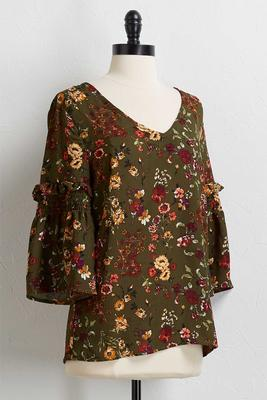 green floral ruffled sleeve top
