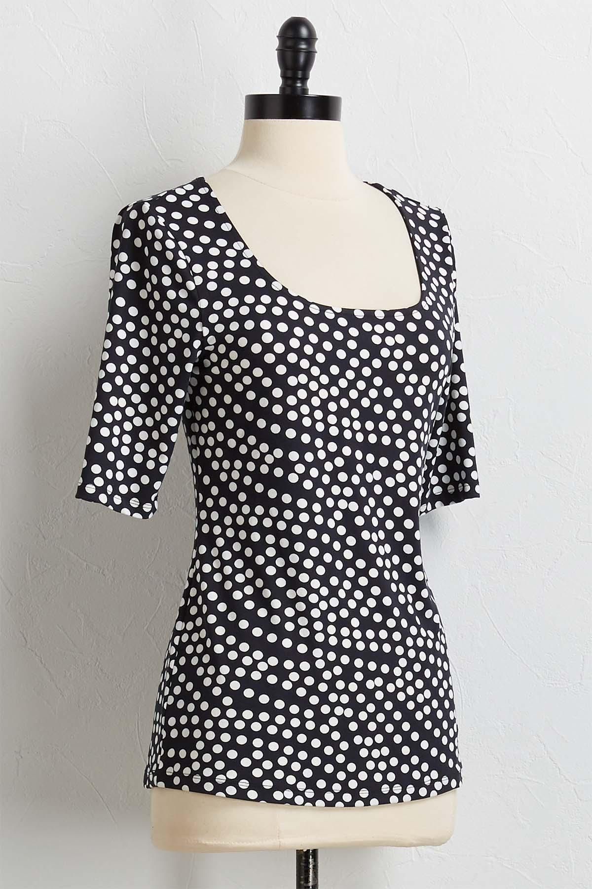 Dotted Scoop Neck Top