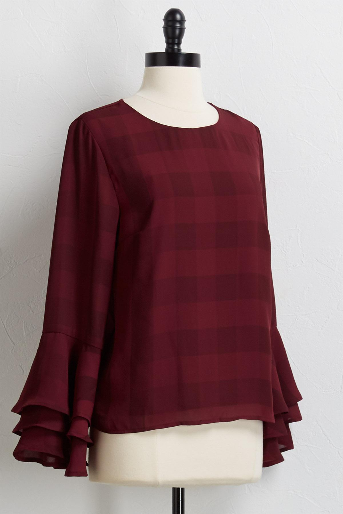 Tonal Plaid Ruffle Sleeve Top