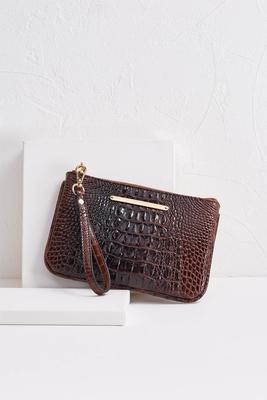 crocodile zip up wristlet