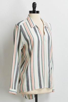 muted stripe high-low top