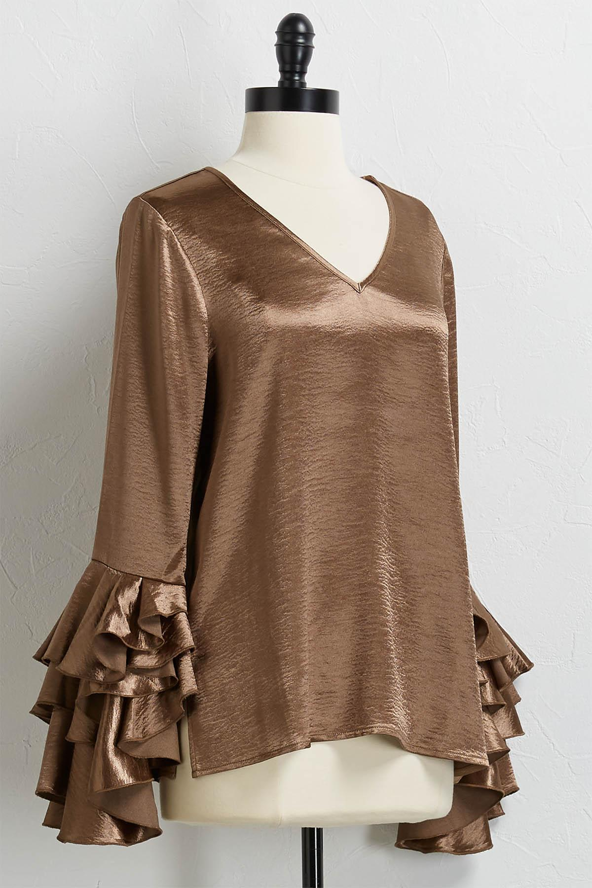 Shimmery Ruffle Bell Sleeve Top