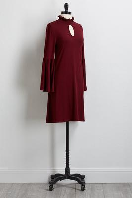 smocked mock neck shift dress