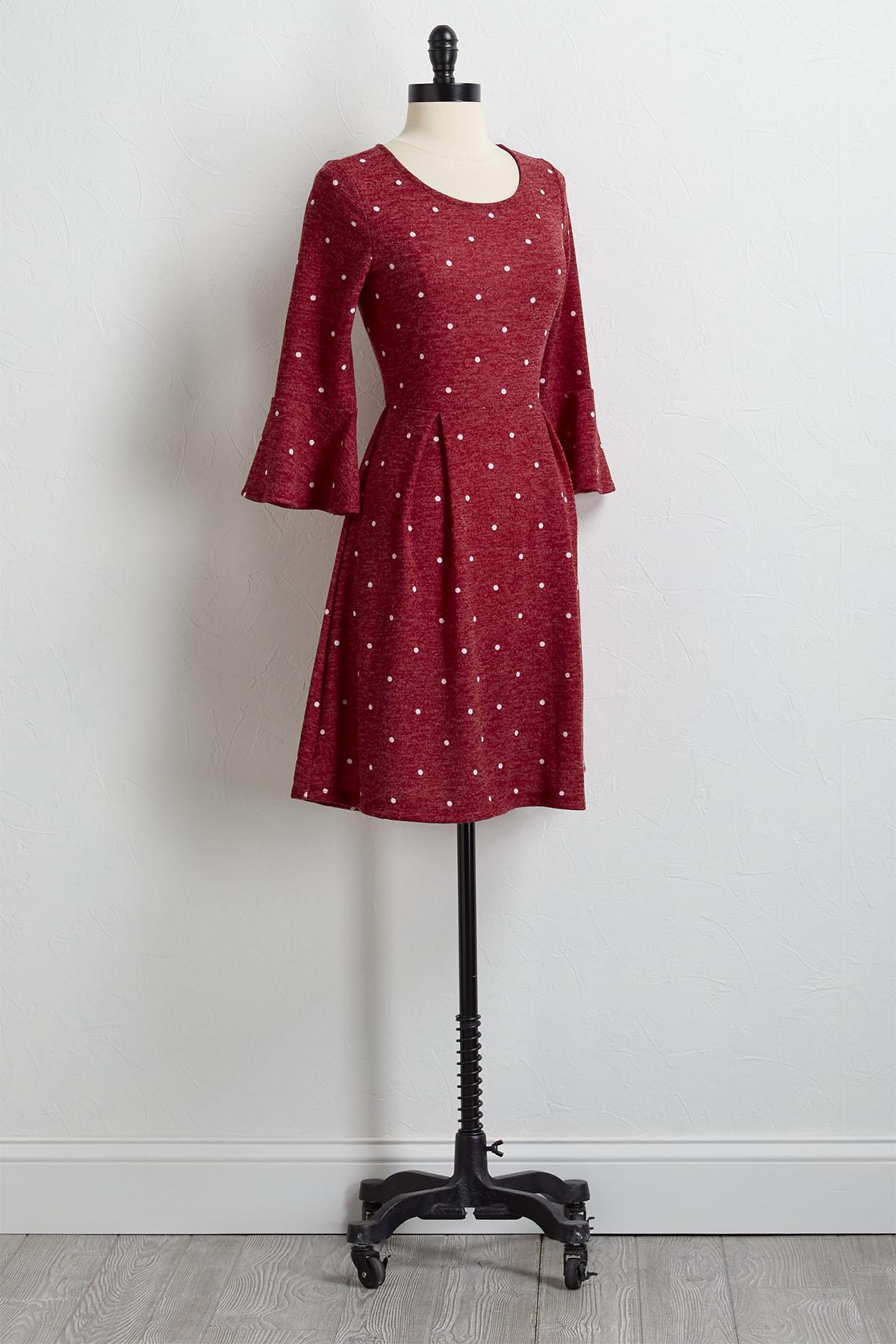 Dotted Hacci Fit And Flare Dress