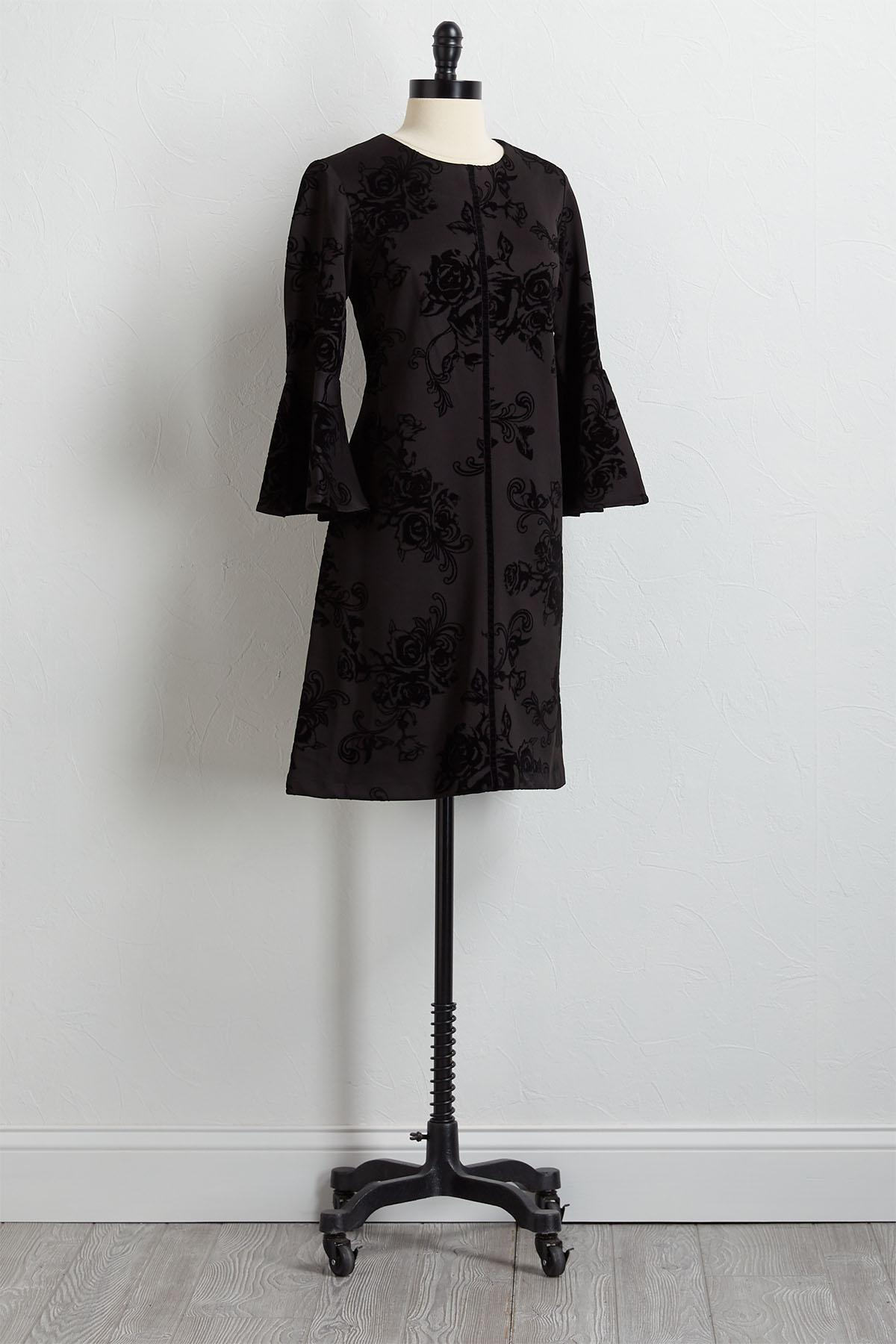 Flocked Velvet Shift Dress