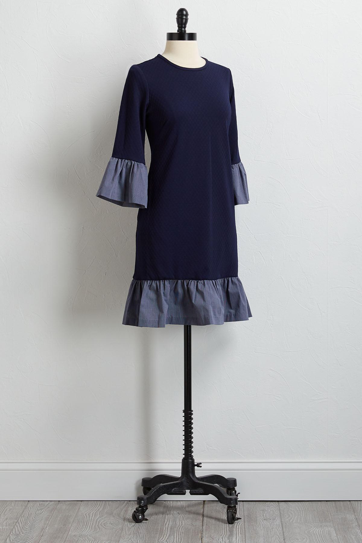 Striped Cuff Shift Dress