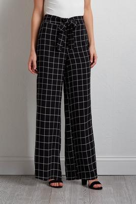 check tie waist pants