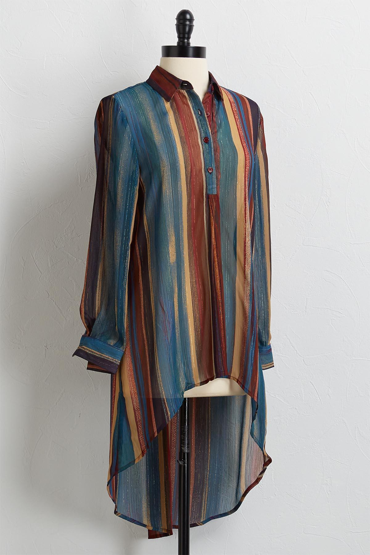 Glimmer Multi Stripe High- Low Tunic