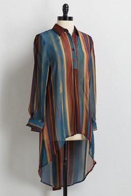 glimmer multi stripe high-low tunic