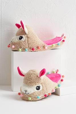 pom-pom llama slippers