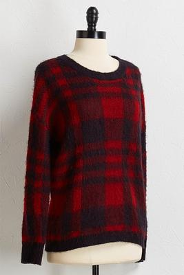 fuzzy plaid sweater