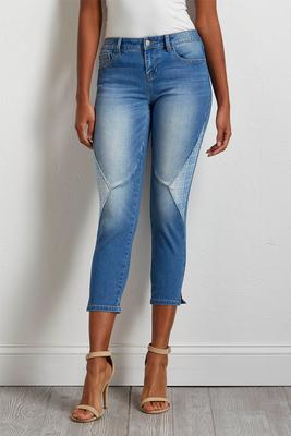 cropped plaid patch jeans
