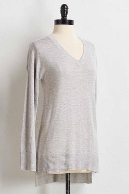 ribbed trim sweater tunic