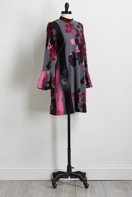 floral shift sweater dress