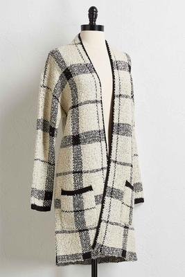 plush plaid cardigan duster