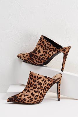 leopard mule heels
