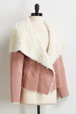sherpa faux suede jacket