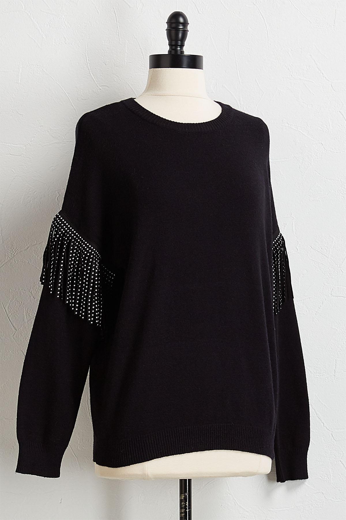 Stud Fringe Sleeve Sweater