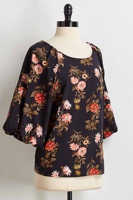 floral balloon sleeve top