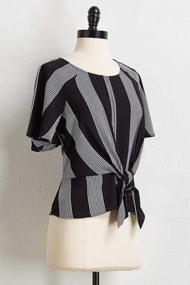 contrast stripe tie front top