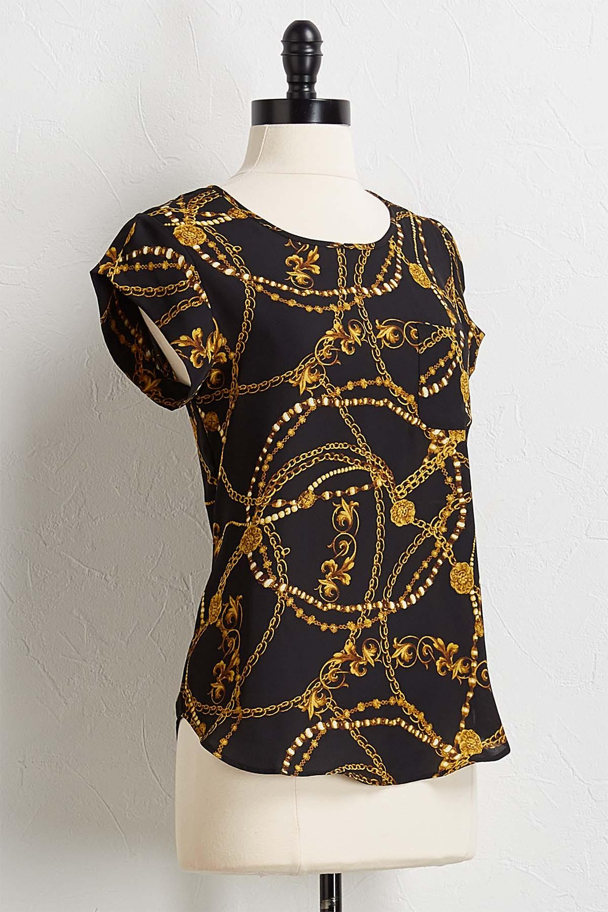 Gold Jewel Print Pullover Top