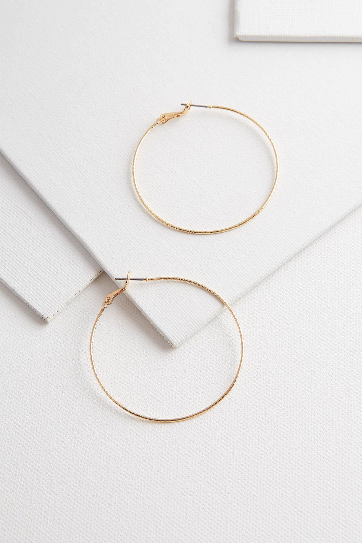 Textured Brass Hoop Earrings